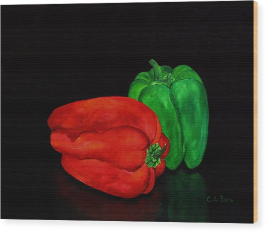 Summer Peppers Wood Print