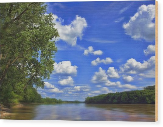 Summer River Glory Wood Print