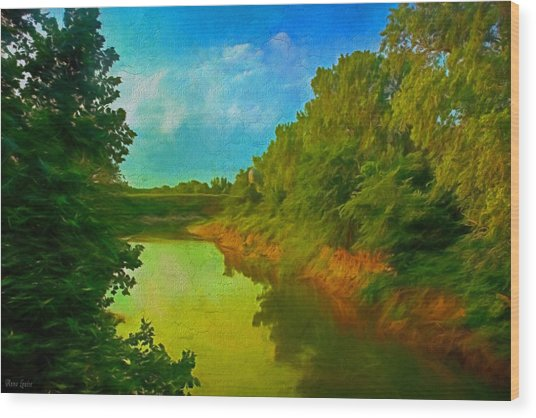 Summer Soft Morning Creek Wood Print