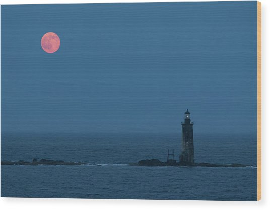 Summer Solstice Strawberry Moon Wood Print