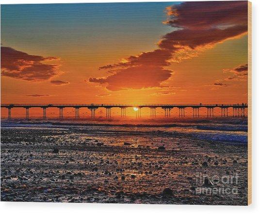 Summer Solstice Sunset Wood Print