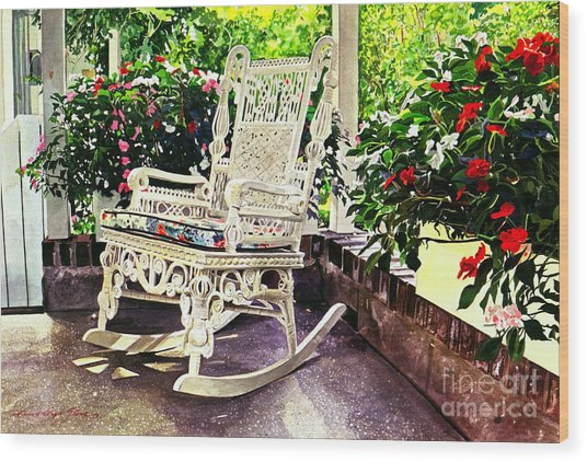Summer Sun Porch Wood Print by David Lloyd Glover