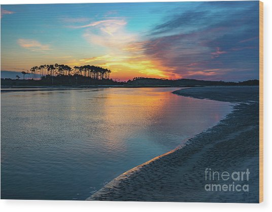 Summer Sunrise At The Inlet Wood Print
