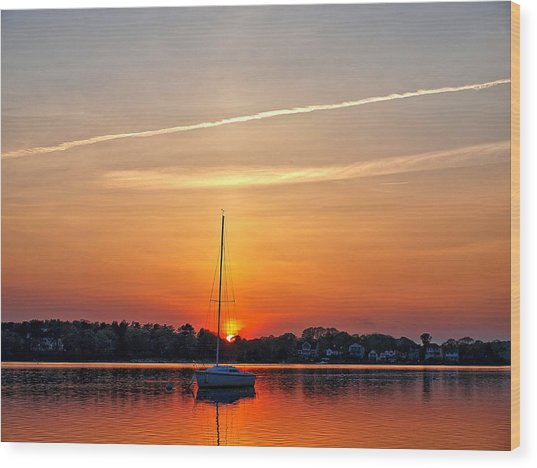 Summer Sunset At Anchor Wood Print