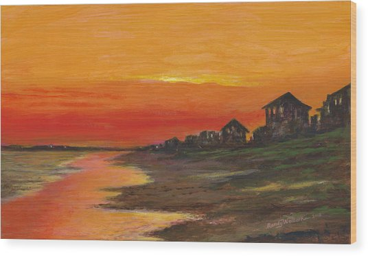 Summer Sunset At  Crystal Beach Wood Print