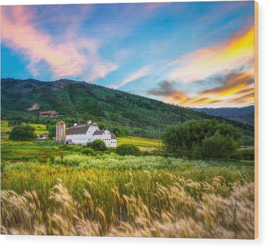 Summer Sunset At Park City Barn Wood Print