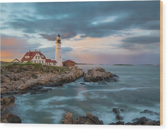 Summer Sunset At Portland Head Light Wood Print