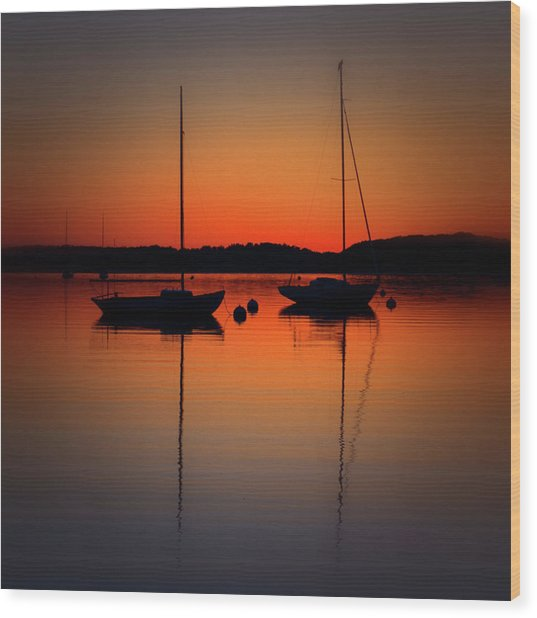 Summer Sunset Calm Anchor Wood Print