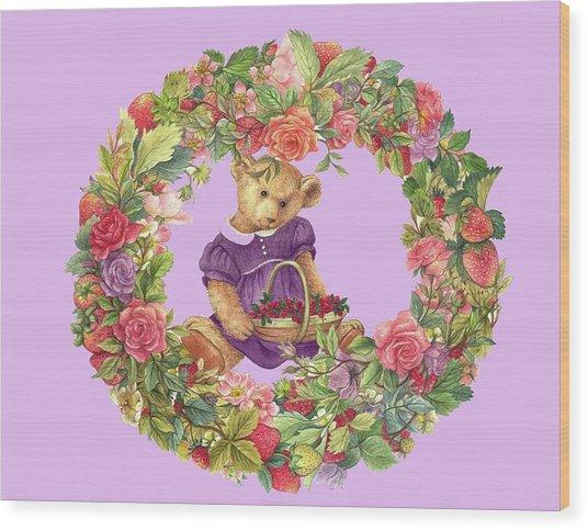 Summer Teddy Bear With Roses Wood Print