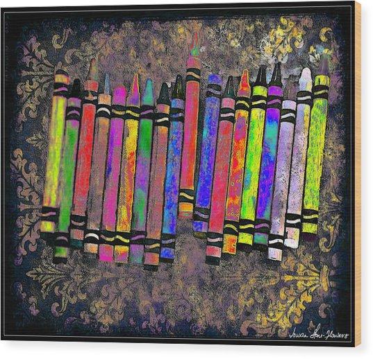 Summer's Crayon Love Wood Print