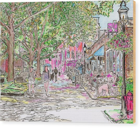 Summertime In Newburyport, Massachusetts Wood Print