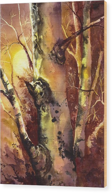 Sun And Aspen 1 Wood Print