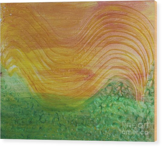 Sun And Grass In Harmony Wood Print