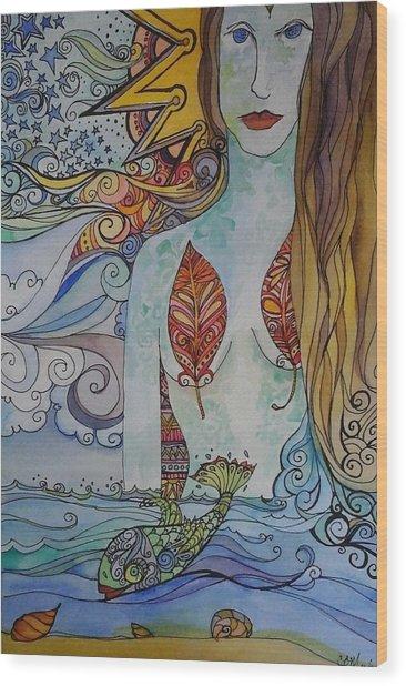 Sun And Sea Godess Wood Print