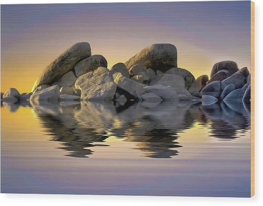 Sun Bathed Rocks Wood Print