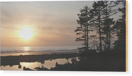 Sun Down At  Kalaloch Wood Print
