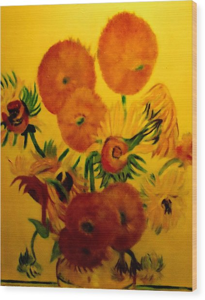 Sun Flowers Copy Wood Print