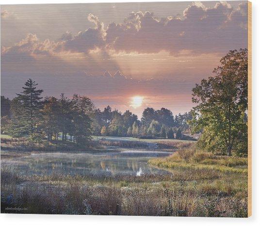 Sun Greets Autumn Lansdscape Wood Print