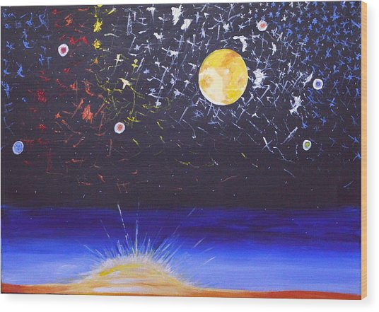 Sun Moon And Stars Wood Print
