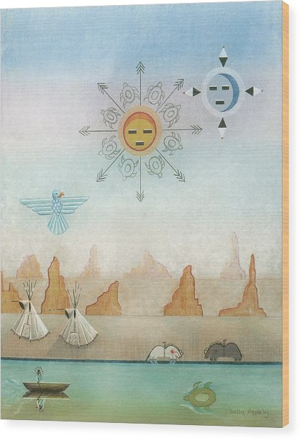 Sun Moon And Turtles Wood Print by Sally Appleby