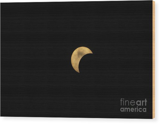 Sun Moon Clouds Wood Print