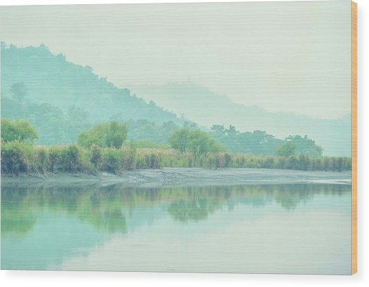 Sun Moon Lake Pastels Wood Print