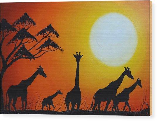 Sun Of The Giraffe 12 Wood Print by Dunbar's Modern Art