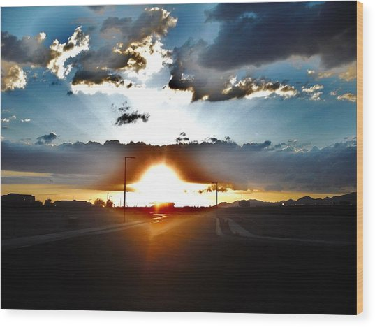 Sun-plosion... Wood Print by Paul Whitney