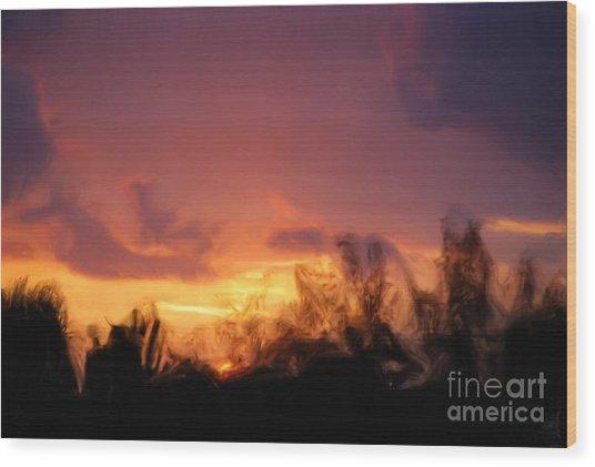 Sun Set Wood Print