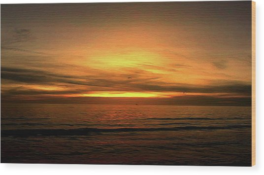 Sun Set On The Gulf Wood Print