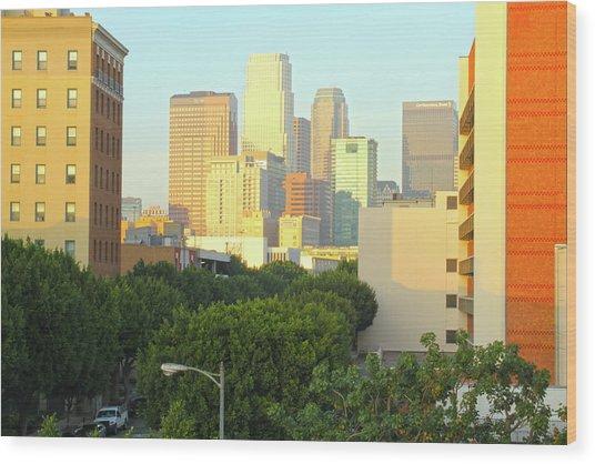 Sun Sets On Downtown Los Angeles Buildings #1 Wood Print
