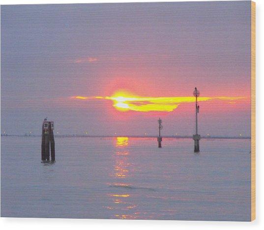 Sun Sets Over Venice II Wood Print by Viviana Puello Villa