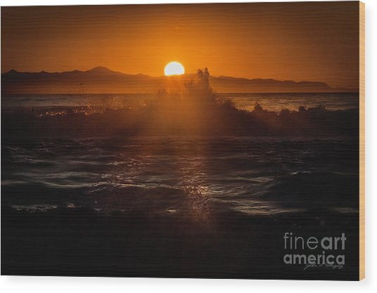 Sun Setting Behind Santa Cruz Island Wood Print
