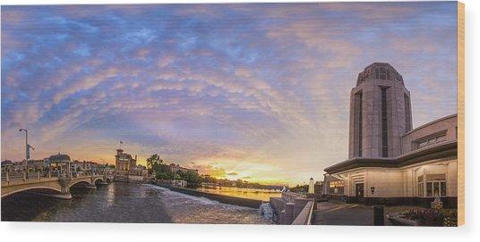 Sun Setting On Downtown Saint Charles Illinois  Wood Print by Lorraine Matti