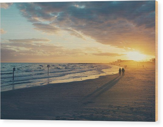Sun Setting On Galveston Beach Wood Print
