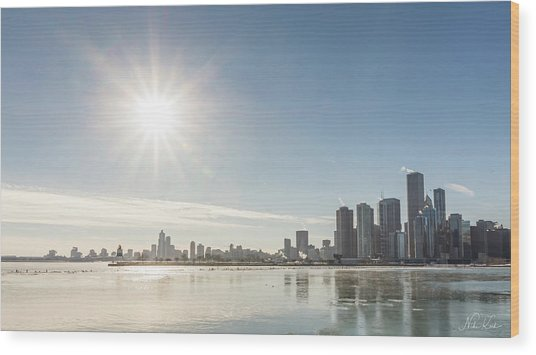 Sun Setting Over Chicago Wood Print