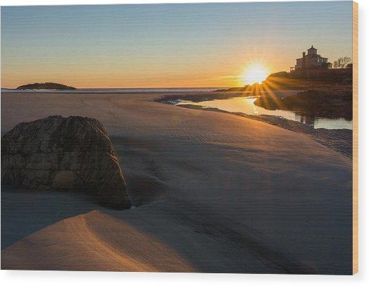 Sun Up Good Harbor Wood Print