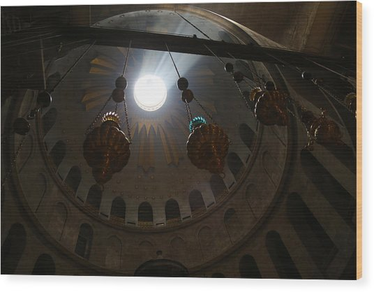 Sunbeams At The Church Of The Holy Sepulchre Wood Print by Heidi Pix