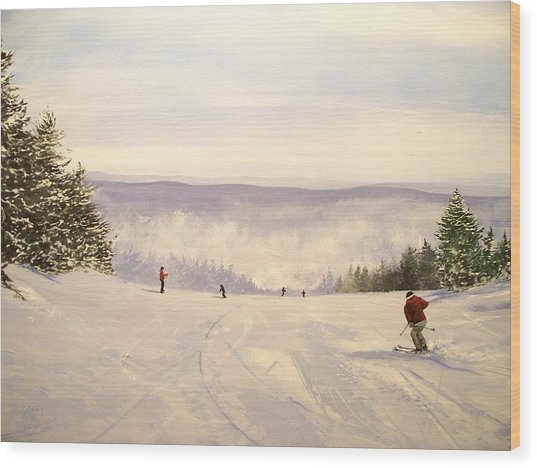 sunbowl at Stratton Mountain Vermont Wood Print by Ken Ahlering