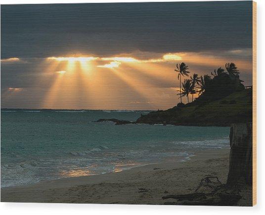 Sunburst At Kailua Wood Print