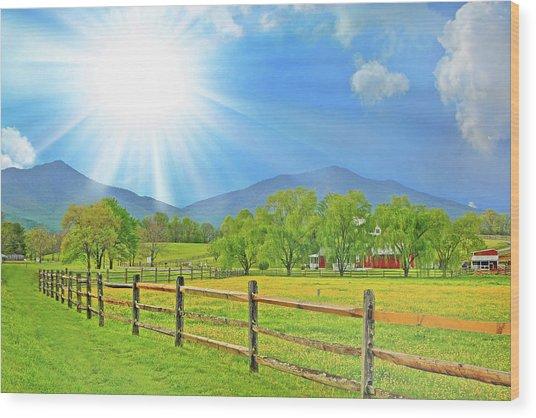 Sunburst Over Peaks Of Otter, Virginia Wood Print