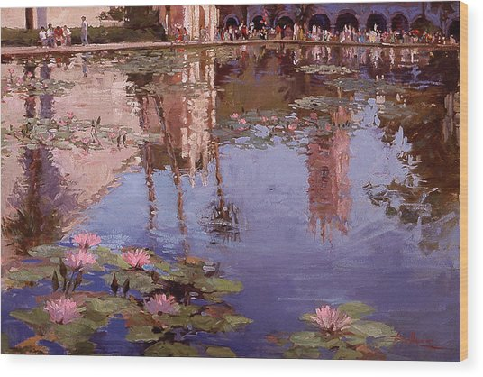 Sunday Reflections - Water Lilies Wood Print