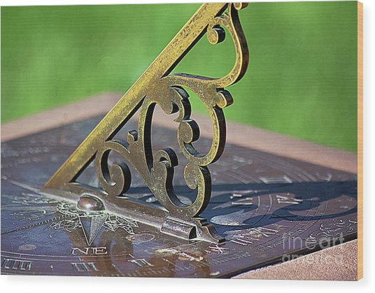 Sundial In The Garden Wood Print