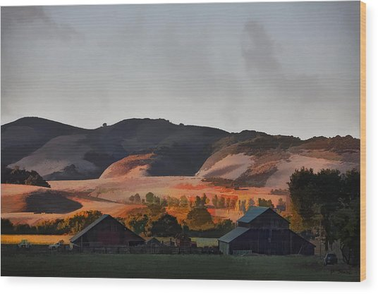 Sundown At The Ranch Wood Print by Patricia Stalter