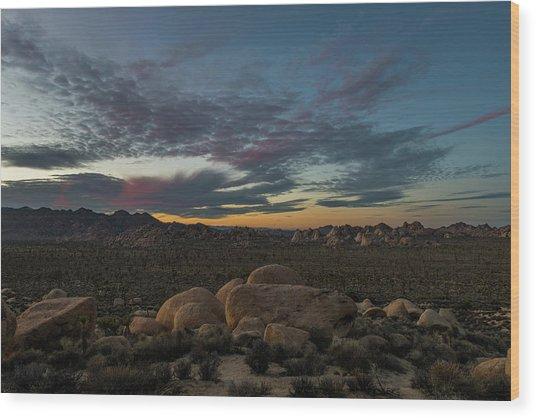 Sundown From Hilltop View Wood Print