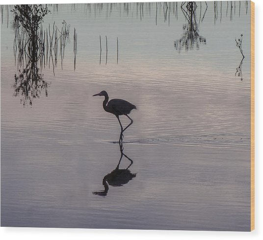 Sundown Heron Silhouette Wood Print