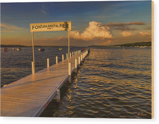 Sundown - Lake Geneva Wisconsin Wood Print