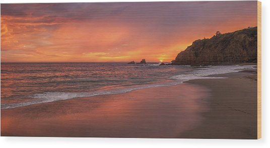 Sundown Over Crescent Beach Wood Print