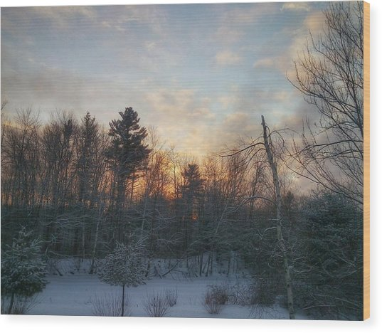 Sundown Winter New England Wood Print