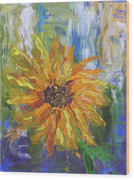 Sunflower Abstract Wood Print by Barbara Harper